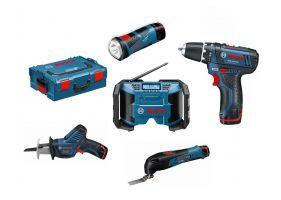 Bosch set 5 scule 10,8 V Li-ion - GSR 10,8-2-LI, GSA 10,8 V-LI, GML 10,8 V-LI, GOP 10,8 V-LI, GLI 10,8 V-LI L-Boxx